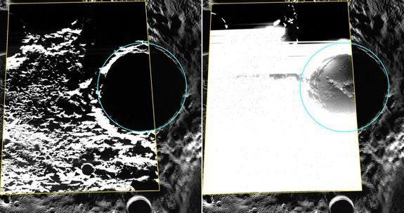 Αριστερά, ο κρατήρας Καντίνσκι σε εικόνες ορατού φωτός. Η ρύθμιση της αντίθεσης και της φωτεινότητας στη δεξιά εικόνα αποκαλύπτει αποθέσεις πάγου (Πηγή: NASA/Johns Hopkins University/Carnegie Institution of Washington)