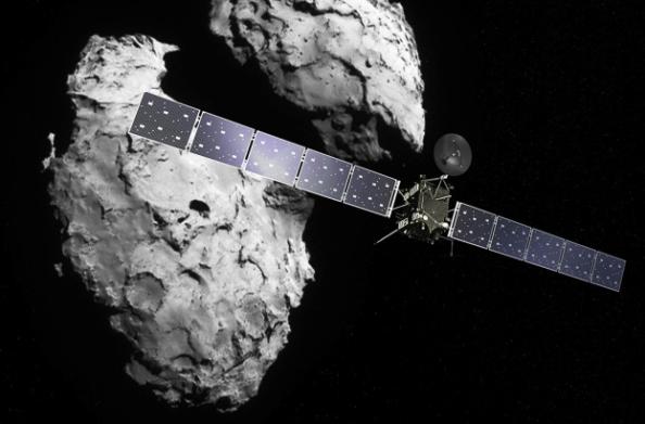 Το διαστημικό σκάφος Rosetta πλησιάζει τον κομήτη 67P/Churyumov-Gerasimenko (καλλιτεχνική άποψη).